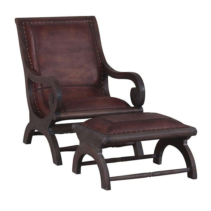 Mahogany Timber Armchair with Foot Stool, Leather Upholstered
