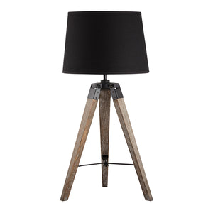 Set of 2 Frank Wooden Tripod Table Lamps, Black