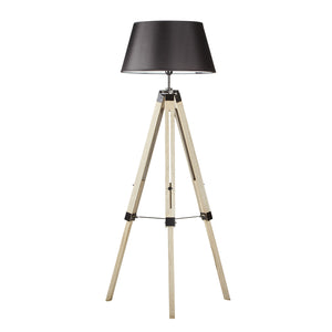 Set of 2 Frank Wooden Tripod Floor Lamp