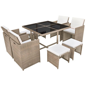 9 Piece Outdoor Dining Set with Cushions Poly Rattan Beige sku 42556