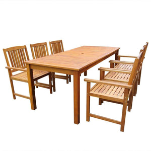 7 Piece Outdoor Dining Set Solid Acacia Wood sku 42624