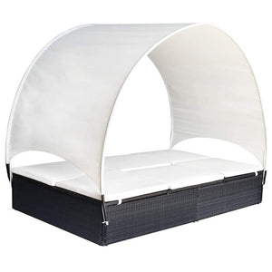 Double Sun Lounger with Canopy Poly Rattan Black