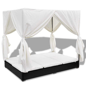 Outdoor Lounge Bed with Curtains Poly Rattan Black