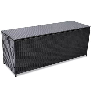 Garden Storage Box Black 150x50x60 cm Poly Rattan