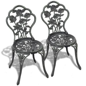 Bistro Chairs 2 pcs Cast Aluminium Green