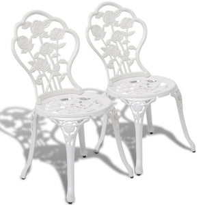 Bistro Chairs 2 pcs Cast Aluminium White