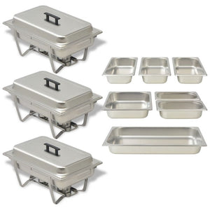 3 Piece Chafing Dish Set Stainless Steel