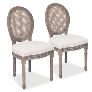 Dining Chairs 2 pcs Cream Fabric sku-244089