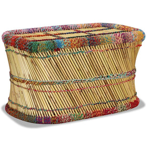 Coffee Table Bamboo with Chindi Details Multicolour sku 244215
