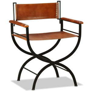 Folding Chair Black and Brown Real Leather