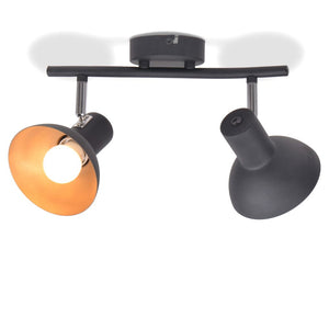 Ceiling Lamp for 2 Bulbs E27 Black and Gold