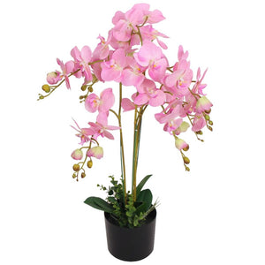 Artificial Orchid Plant with Pot 75 cm Pink