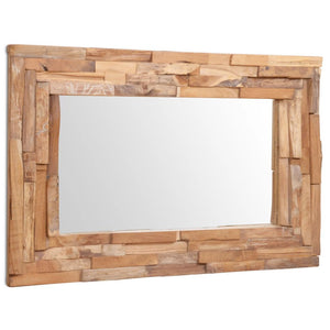 Decorative Mirror Teak 90x60 cm Rectangular