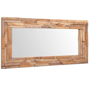 Decorative Mirror Teak 120x60 cm Rectangular