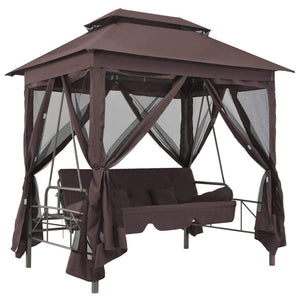 43240 Gazebo Convertible Swing Bench Coffee