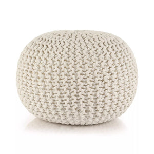 Hand-Knitted Pouffe Cotton 50x35 cm White
