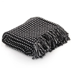 Throw Cotton Squares 125x150 cm Black