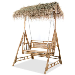 2-Seater Swing Bench with Palm Leaves Bamboo 202 cm