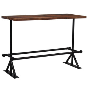 Bar Table Solid Reclaimed Wood Dark Brown 150x70x107 cm