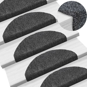 15pcs Self-adhesive Stair Mats Needle Punch 65x21x4cm Dark Grey