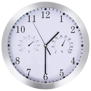 Wall Clock with Quartz Movement Hygrometer and Thermometer 30 cm White