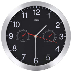 Wall Clock with Quartz Movement Hygrometer and Thermometer 30 cm Black