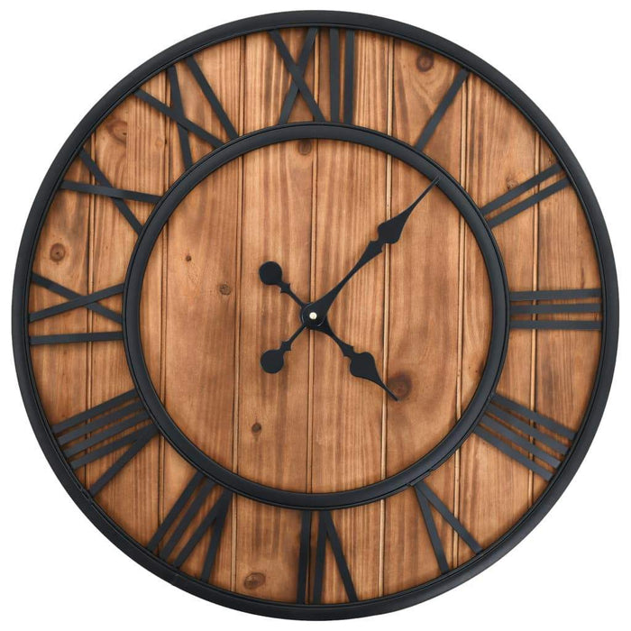 Vintage Wall Clock with Quartz Movement Wood and Metal 60 cm XXL
