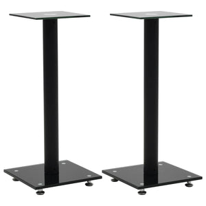 Speaker Stands 2 pcs Tempered Glass 1 Pillar Design Black