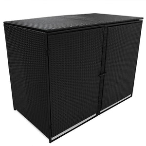 Double Wheelie Bin Shed Poly Rattan Black 148x80x111 cm
