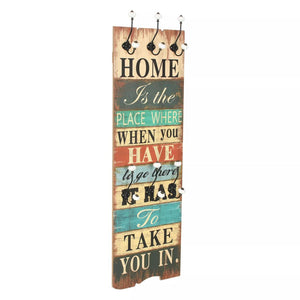 Wall-mounted Coat Rack with 6 Hooks 120x40 cm HOME IS