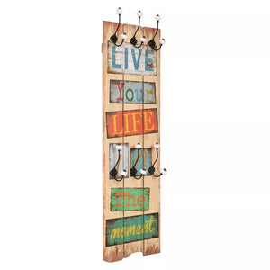 Wall-mounted Coat Rack with 6 Hooks 120x40 cm LIVE LIFE