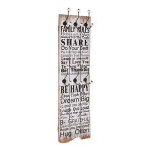 Wall-mounted Coat Rack with 6 Hooks 120x40 cm FAMILY RULES
