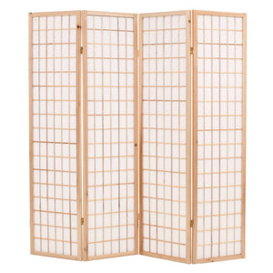 Folding 4-Panel Room Divider Japanese Style 160x170 cm Natural