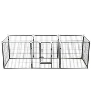 Dog Playpen 8 Panels Steel 80x80 cm Black