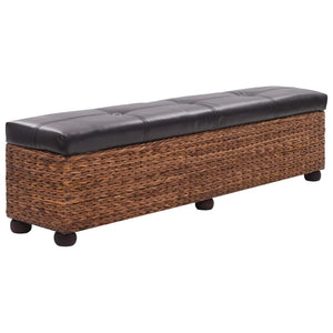 Bench Seagrass 140x29x40 cm Brown
