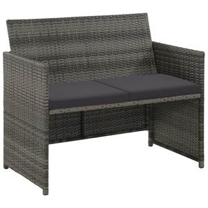 2 Seater Garden Sofa with Cushions Grey Poly Rattan