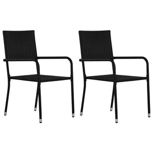 Outdoor Dining Chairs 2 pcs Poly Rattan Black