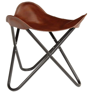 Butterfly Stool Brown Real Leather