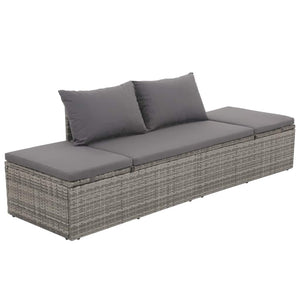 Garden Bed Grey 195x60 cm Poly Rattan