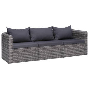 3 Piece Garden Sofa Set with Cushions Grey Poly Rattan