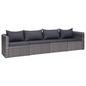 4 Piece Garden Sofa Set with Cushions Grey Poly Rattan