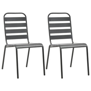 Stackable Outdoor Chairs 2 pcs Steel Grey