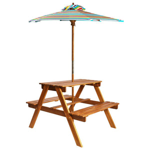 Kids Picnic Table with Parasol 79x90x60 cm Solid Acacia Wood