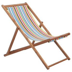 Folding Beach Chair Fabric and Wooden Frame Multicolour sku 44002