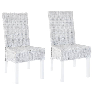 Dining Chairs 2 pcs Grey Kubu Rattan and Mango Wood - sku 246654