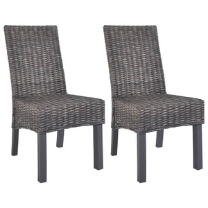 Dining Chairs 2 pcs Brown Kubu Rattan and Mango Wood - sku 246655
