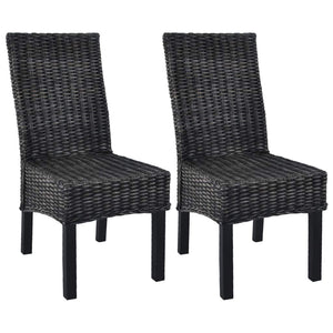 Dining Chairs 2 pcs Black Kubu Rattan and Mango Wood - sku 246656