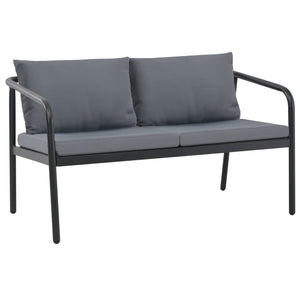 2 Seater Garden Bench with Cushions Grey Aluminium