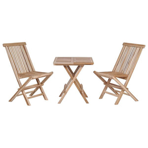 3 Piece Folding Bistro Set Solid Teak Wood
