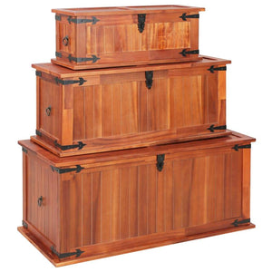 Storage Chests 3 pcs Solid Acacia Wood